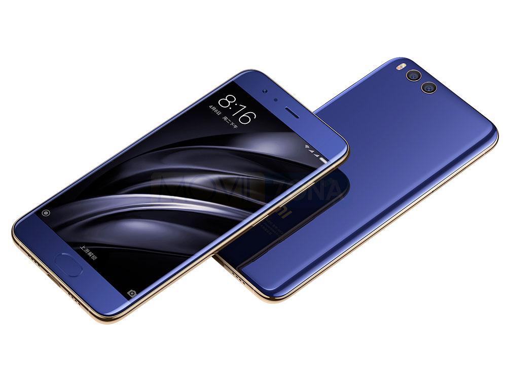 Xiaomi Mi 6 azul sobre fondo blanco