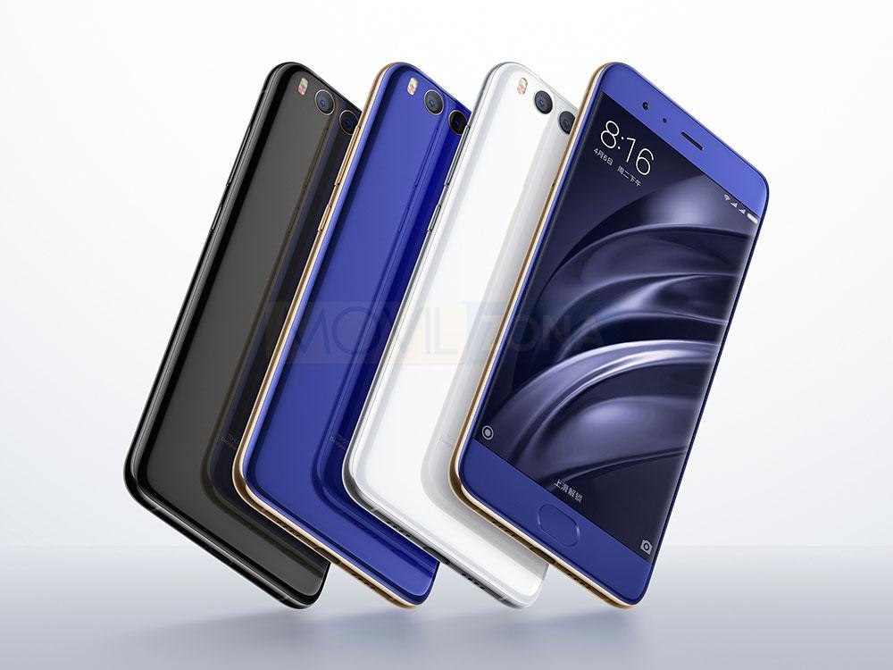 Xiaomi Mi 6 negro, blanco y azul