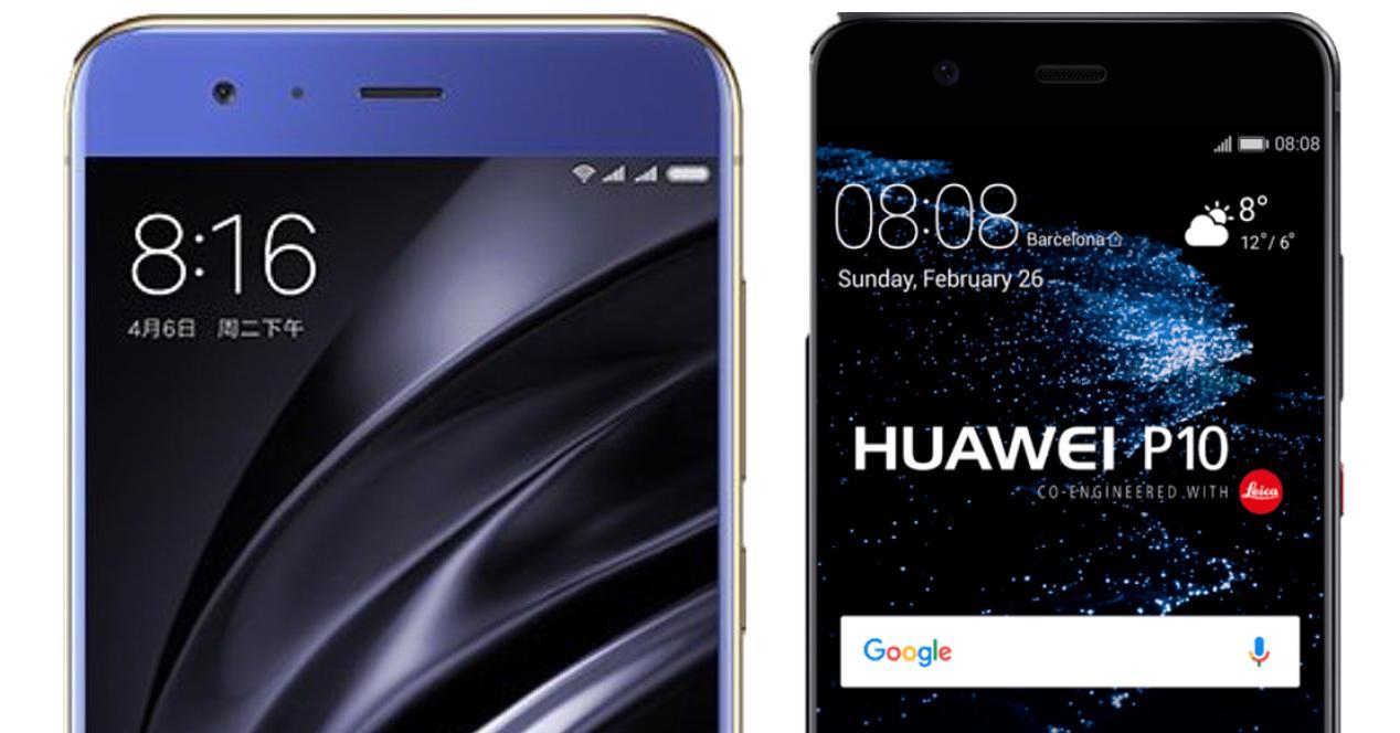 Frontal del Xiaomi Mi6 y Huawei P10
