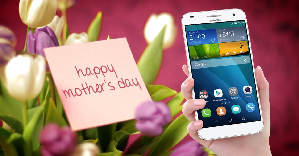 feliz día de la madre con móvil