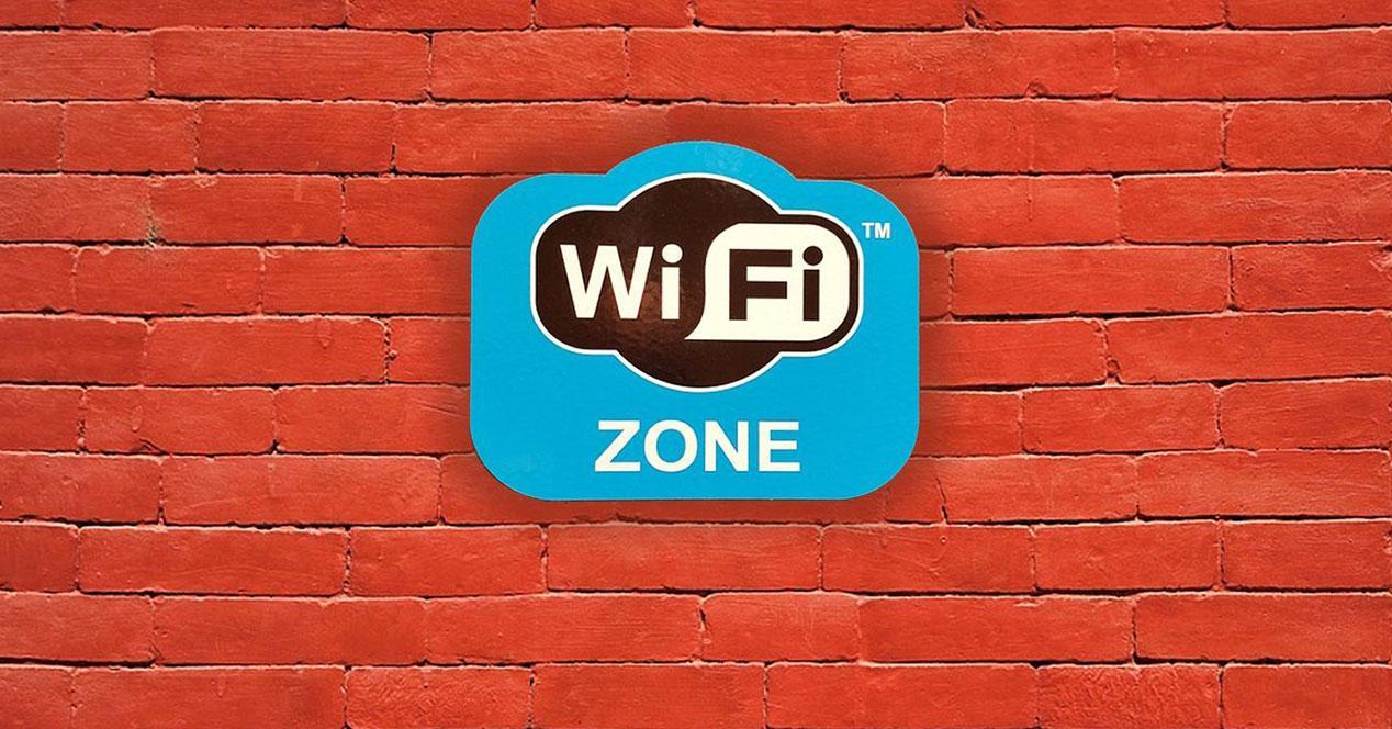 cartel wifi zone en muro de ladrillo