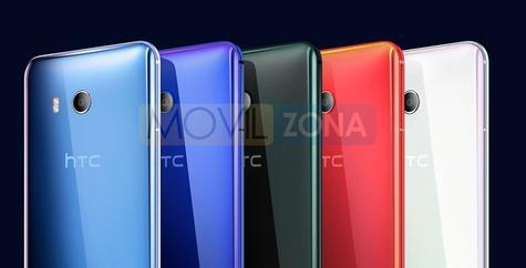 HTC U11 azul, negro y rojo