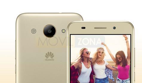 Huawei Y3 2017 dorado vista de pantalla y de la cámara digital