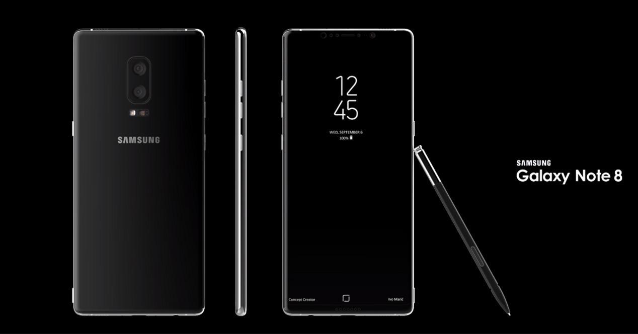 Diseño del Samsung Galaxy Note 8 con S Pen