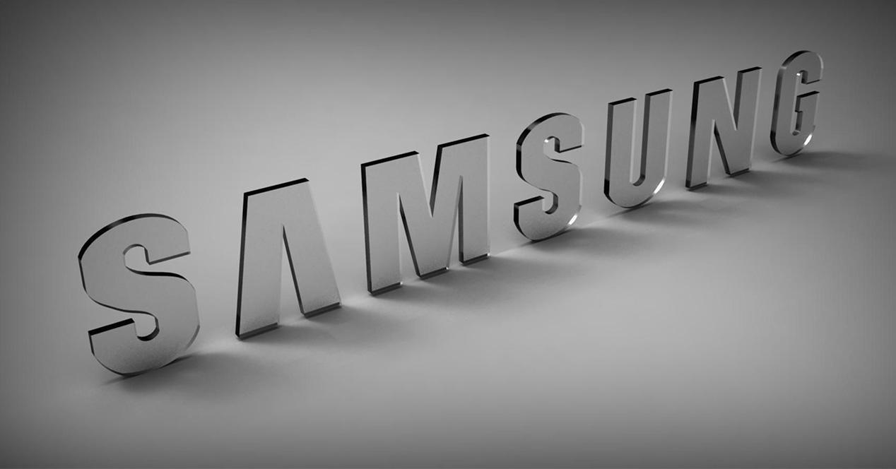 Logo de Samsung con fondo gris y letras de cristal
