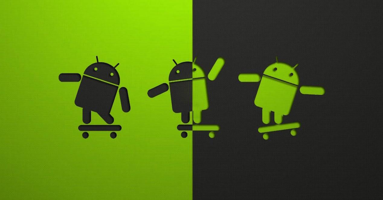 logo android fondo verde y negro