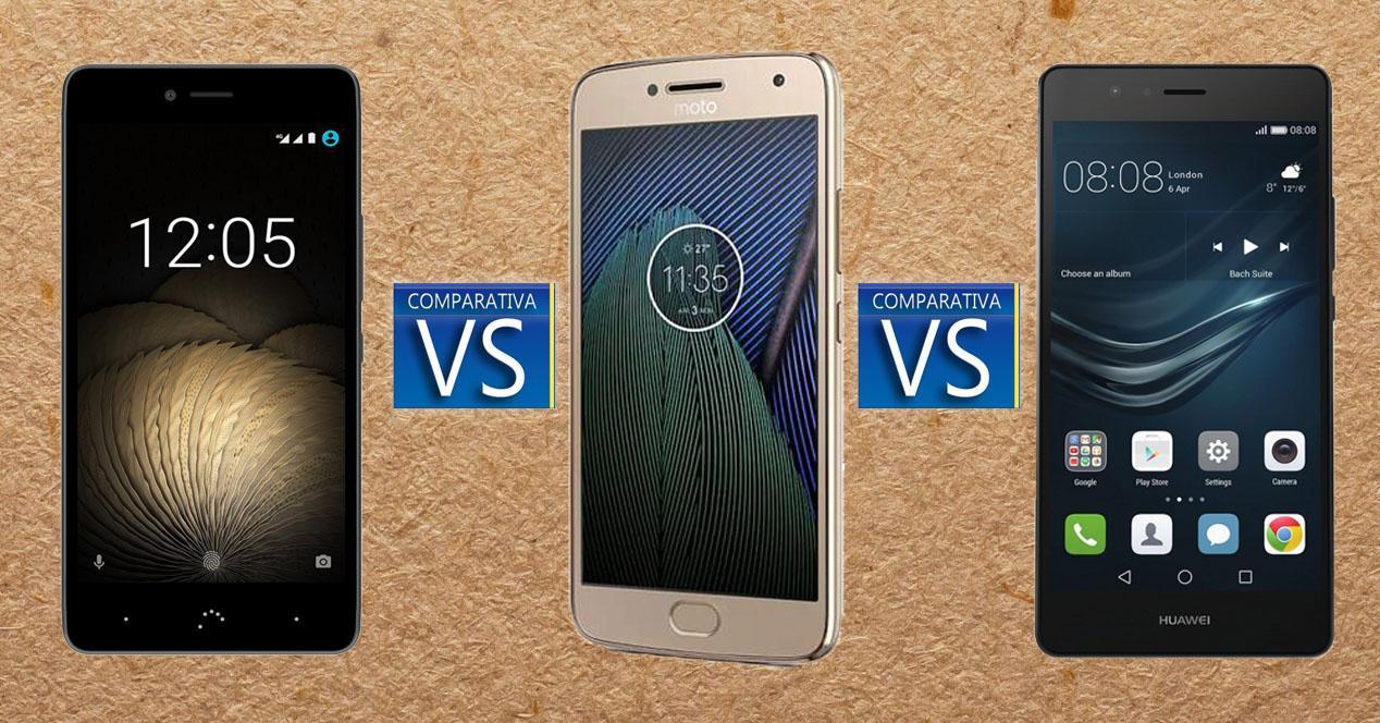 Comparativa Moto G5, BQ y Huawei