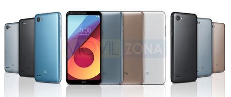 LG Q6 vista frontal de todos los modelos