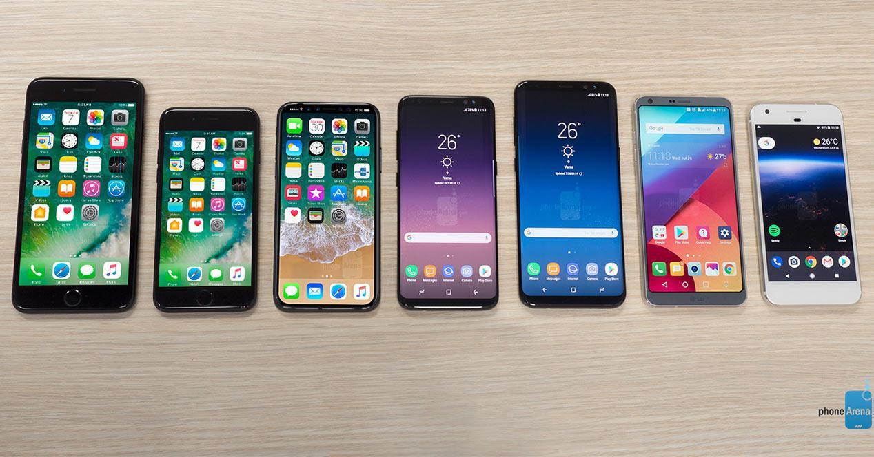 Tamaño del iPhone 8 frente a la competencia