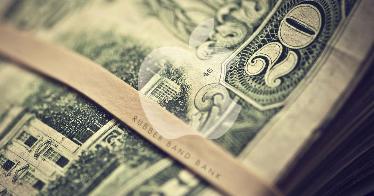 Logo de Apple sobre billetes