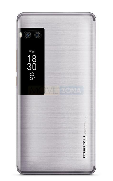 Meizu PRO 7 Plus doble pantalla vista trasera color plateado