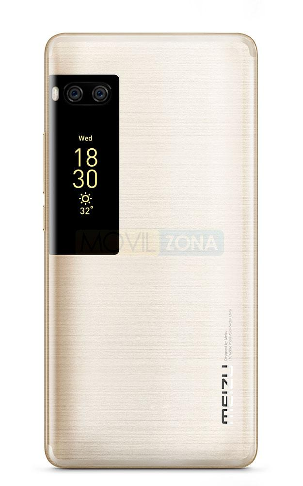 Meizu PRO 7 Plus doble pantalla vista trasera color dorado