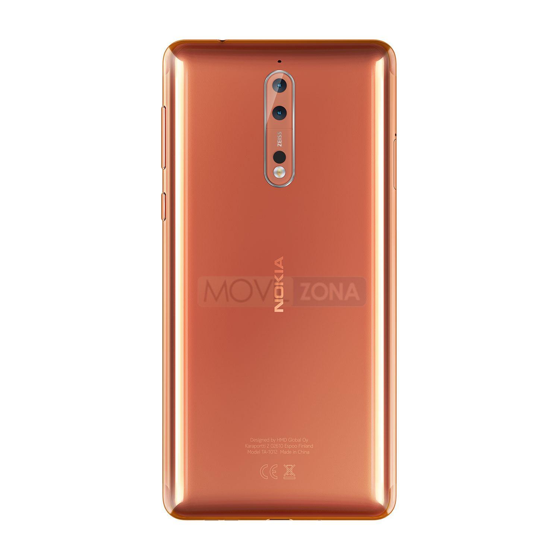 Nokia 8 naranja vista trasera