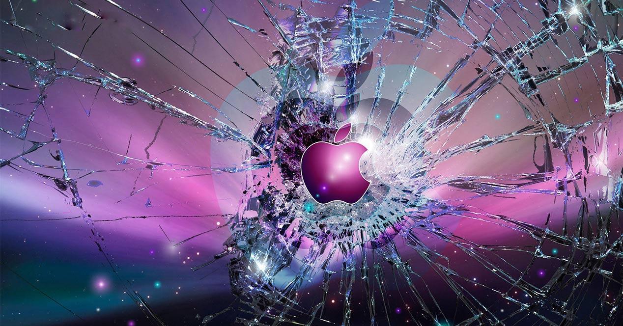 Logo de Apple sobre un cristal roto