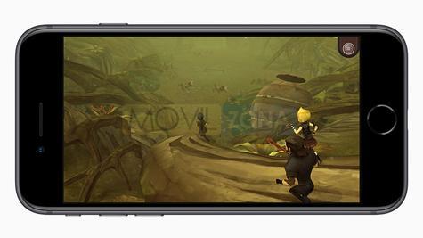 iPhone 8 Plus con foto panorámica en la pantalla