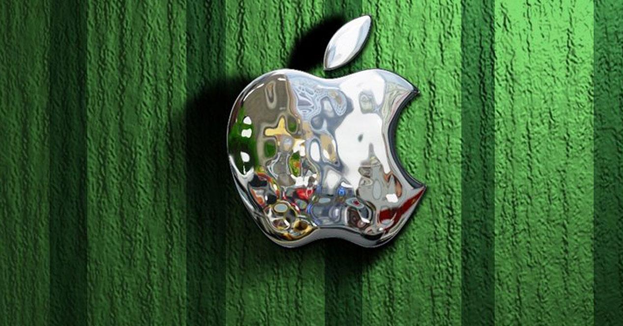 logo de Apple con manzana de color plata