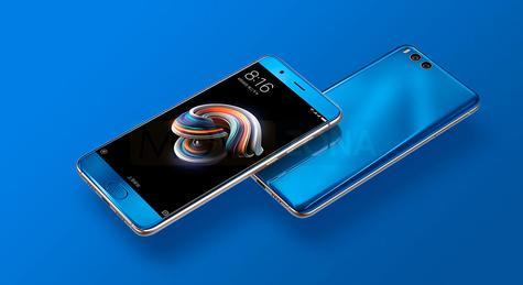 Xiaomi Mi Note 3 azul vista delantera y trasera