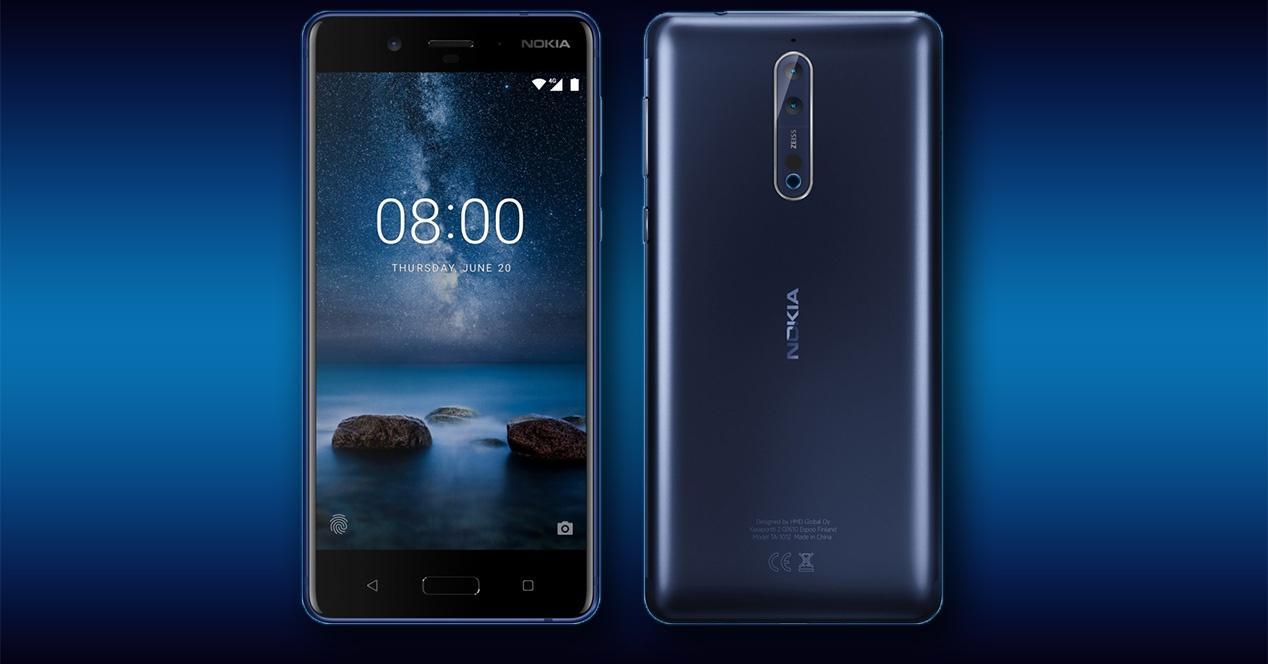 Frontal y trasera del Nokia 8
