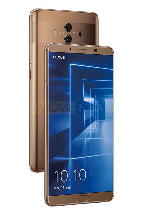 Huawei Mate 10 vista delantera y trasera color oro