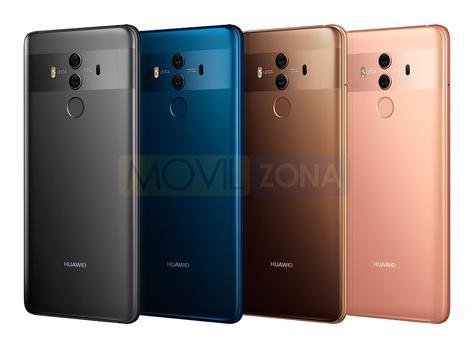 Huawei Mate 10 Pro gris, azul, dorado y rosa