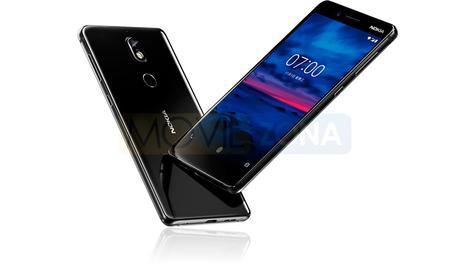 Nokia 7 negro vista delantera y trasera