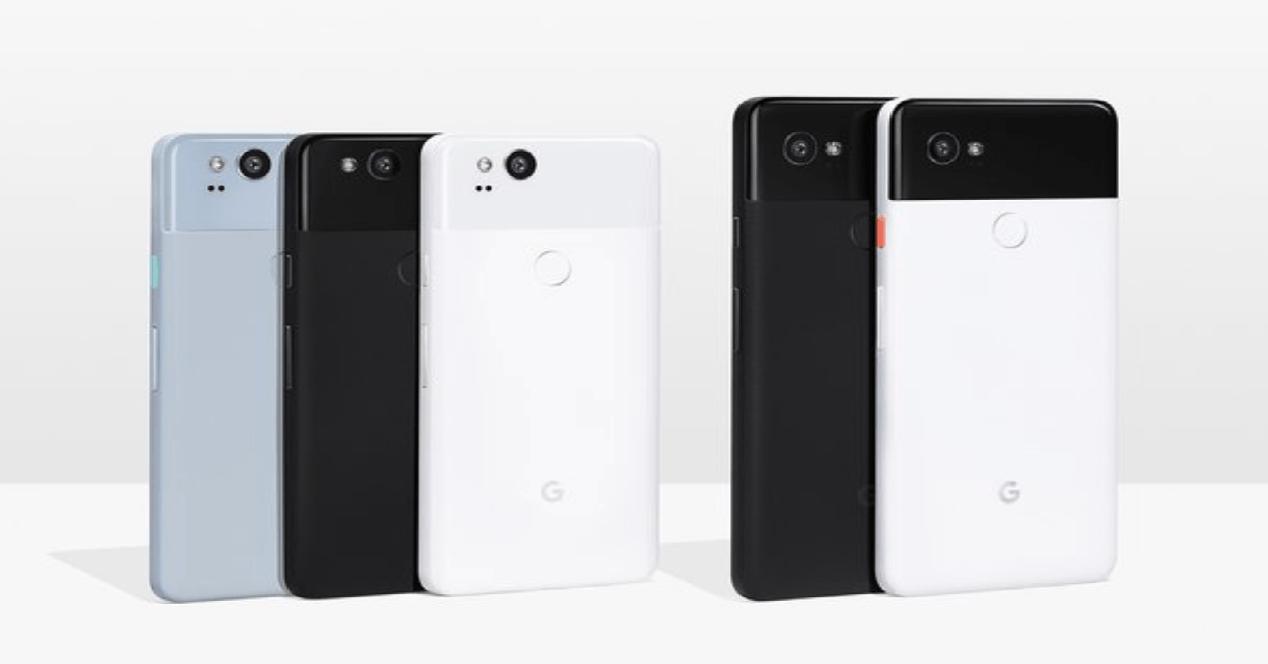 Google Pixel 2 XL y Google Pixel por detrás