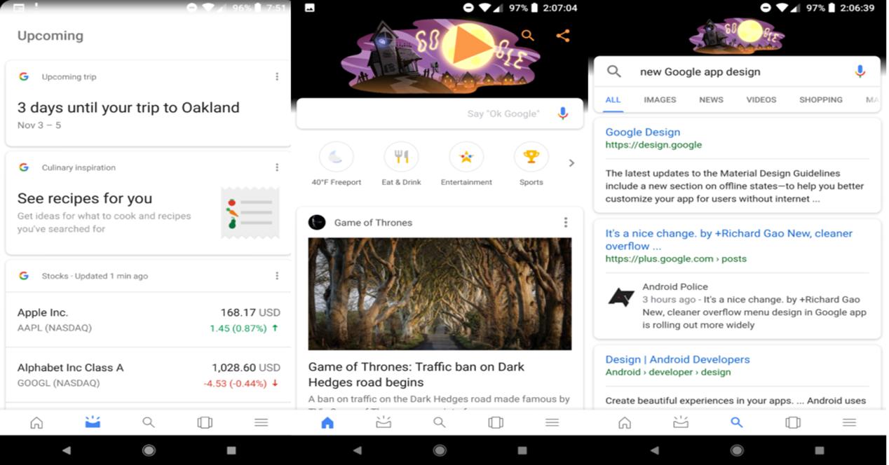 Interfaz de la aplicación de Google