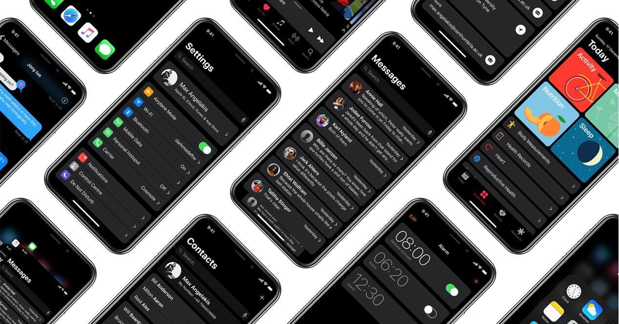 Rediseño del modo oscuro de iOS 11 adaptado a la pantalla del iPhone X