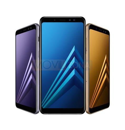 Samsung Galaxy A8 violeta azul y dorado
