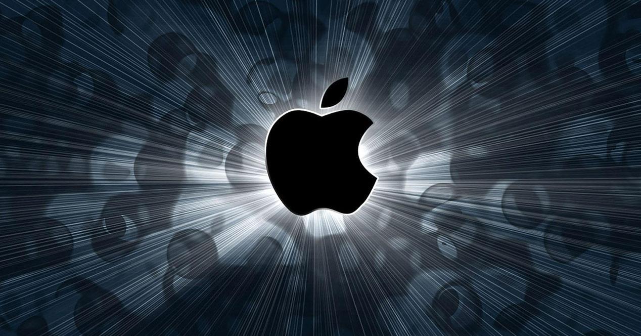 Logo de Apple con luz de fondo