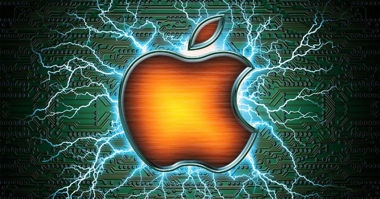 Logotipo de Apple sobre un fondo verde