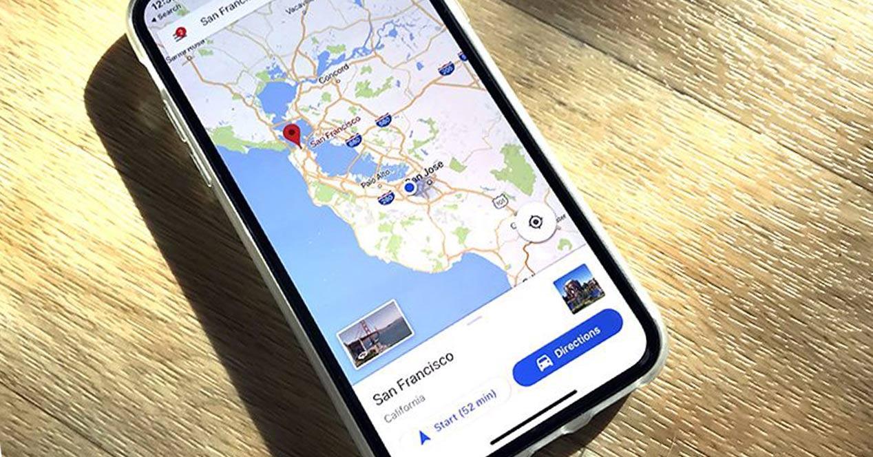 Google Maps para iOS en un iPhone X