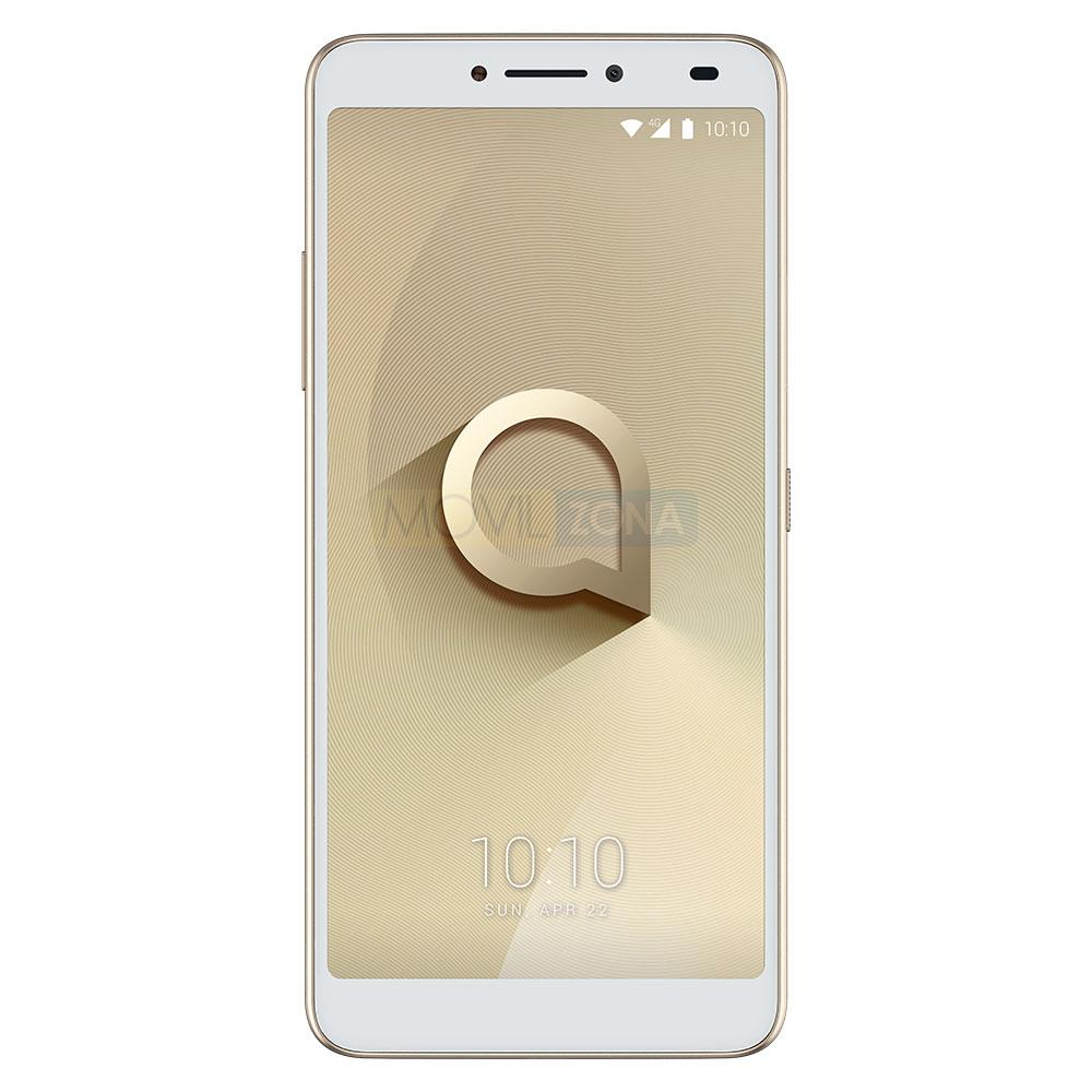 Alcatel 3V blanco con logotipo en pantalla