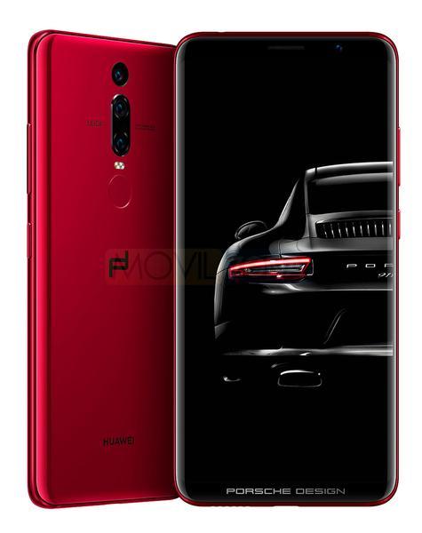 Huawei Porsche Design Mate RS rojo con 911 en la pantalla