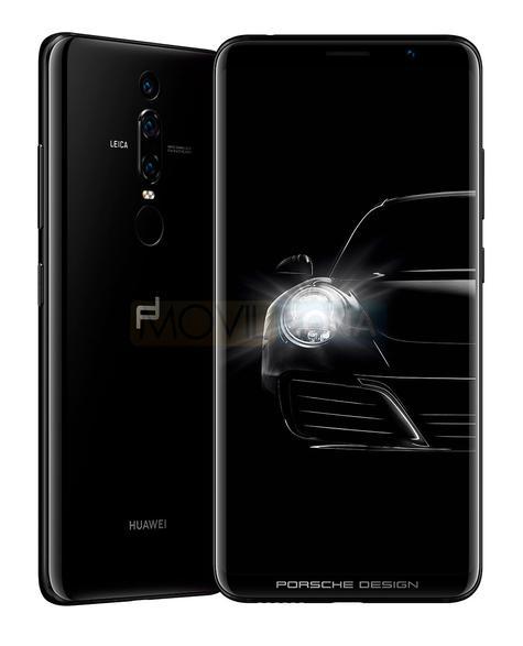 Huawei Porsche Design Mate RS negro con Porsche 911 en la pantalla