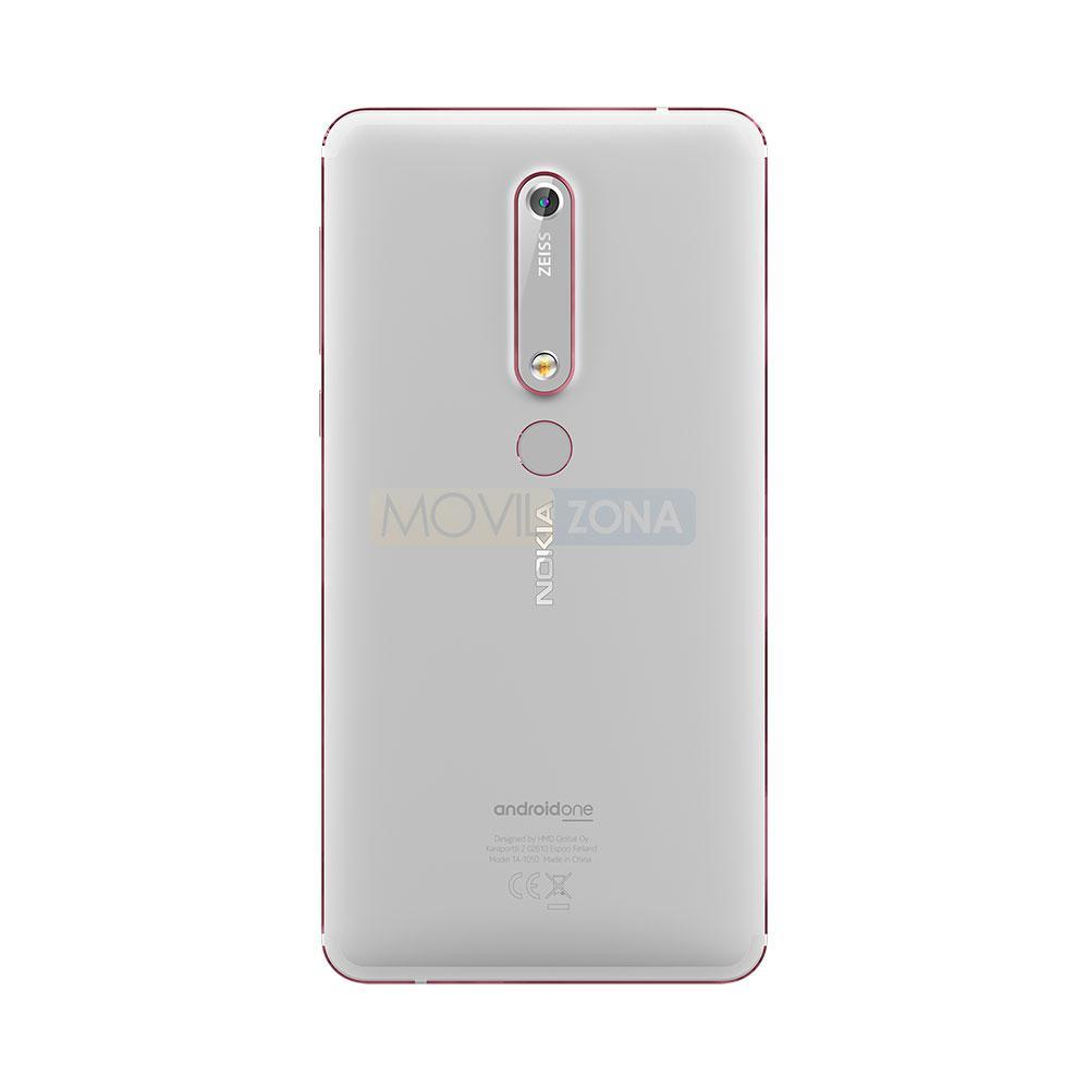 Nokia 6 blanco detalle de la cámara digital
