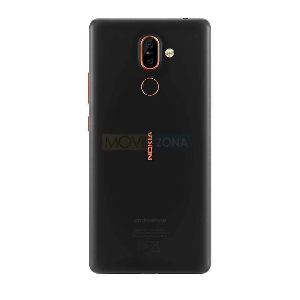 Nokia 7 Plus negro trasera con color dorado