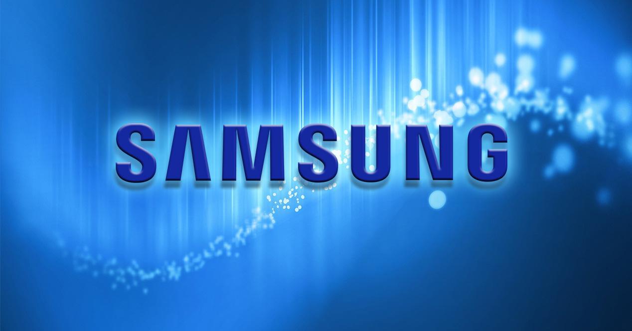 Logo de Samsung sobre fondo azul