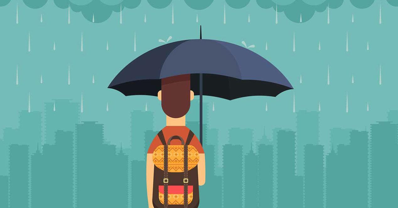 lluvia paraguas hombre el tiempo app