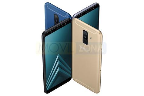 Samsung Galaxy A6 Plus dorado, negro, azul y gris