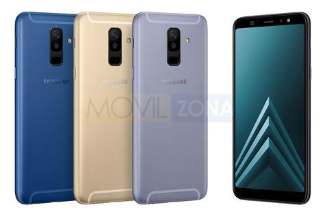 Samsung Galaxy A6 Plus negro, dorado, azul y gris