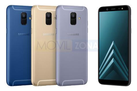 Samsung Galaxy A6 azul, dorado y gris