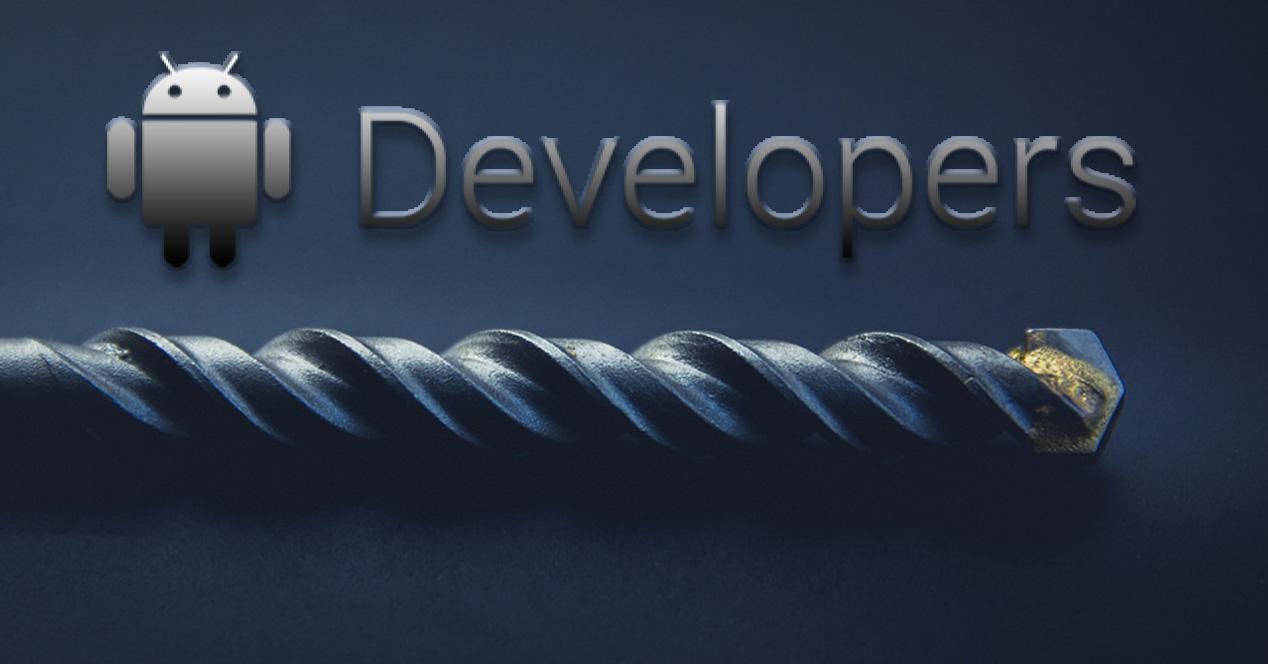 Logotipo de Android con una broca