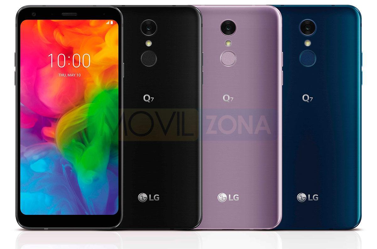 LG Q7 negro, violeta y azul