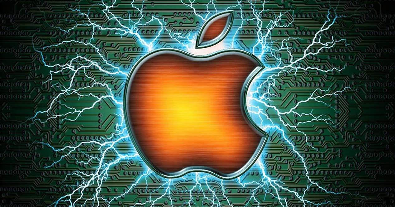 Logotipo de Apple con rayos de fondo