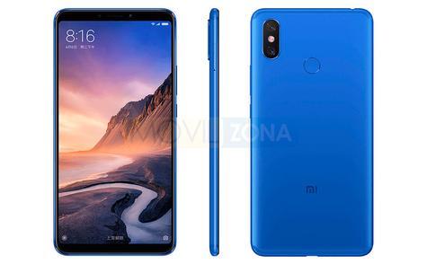 Xiaomi Mi Max 3 azul vista lateral, frontal y trasera