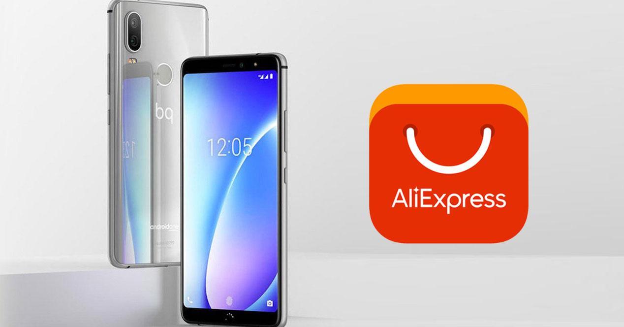 bq aquaris x2 y logo de aliexpress