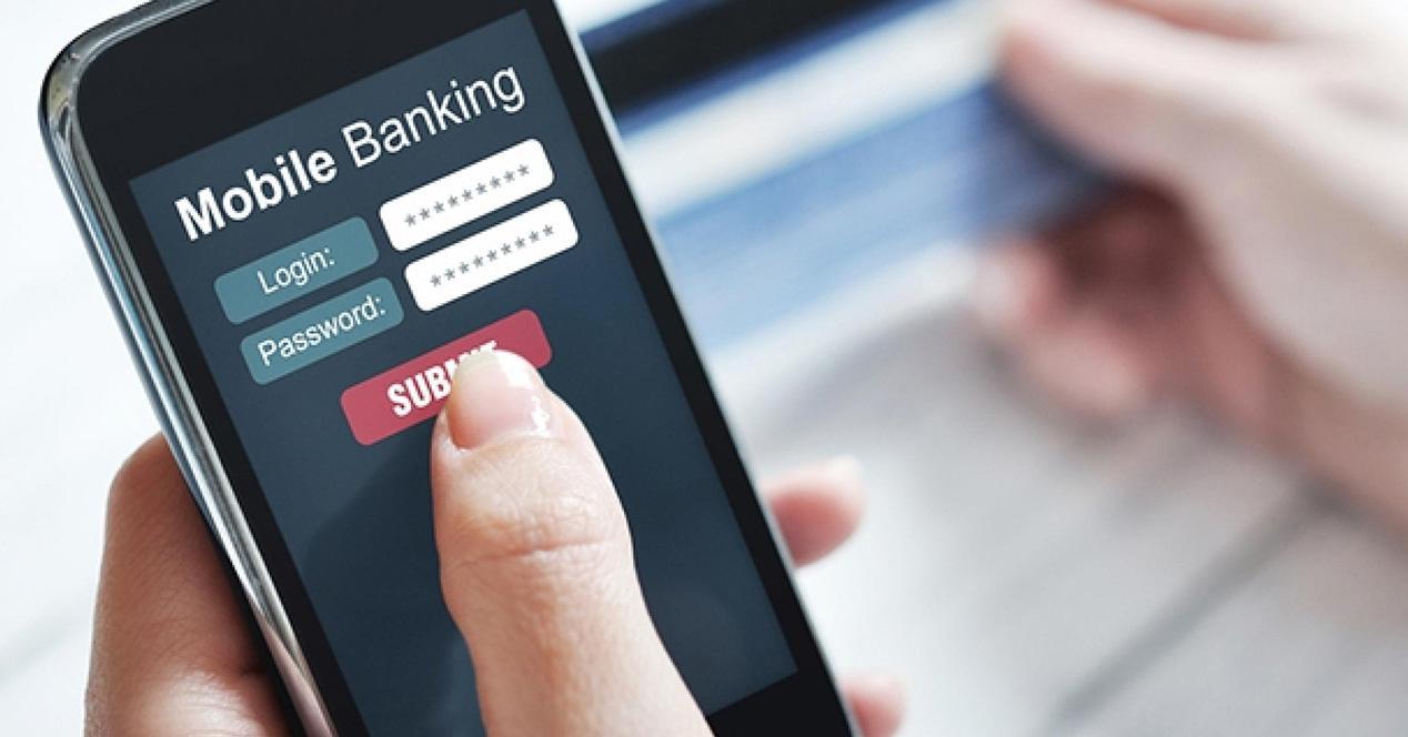 App del banco en un smartphone