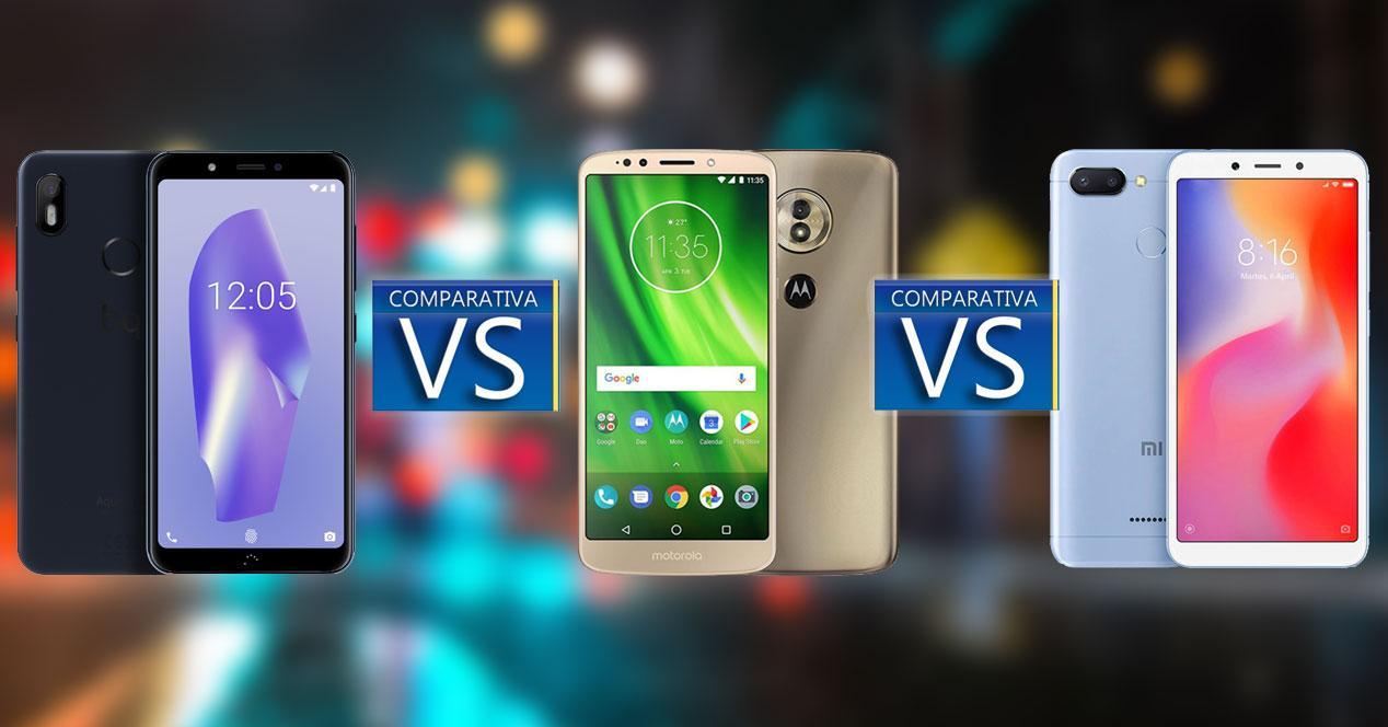 Comparativa BQ Aquaris C-Redmi 6-Moto G6 Play