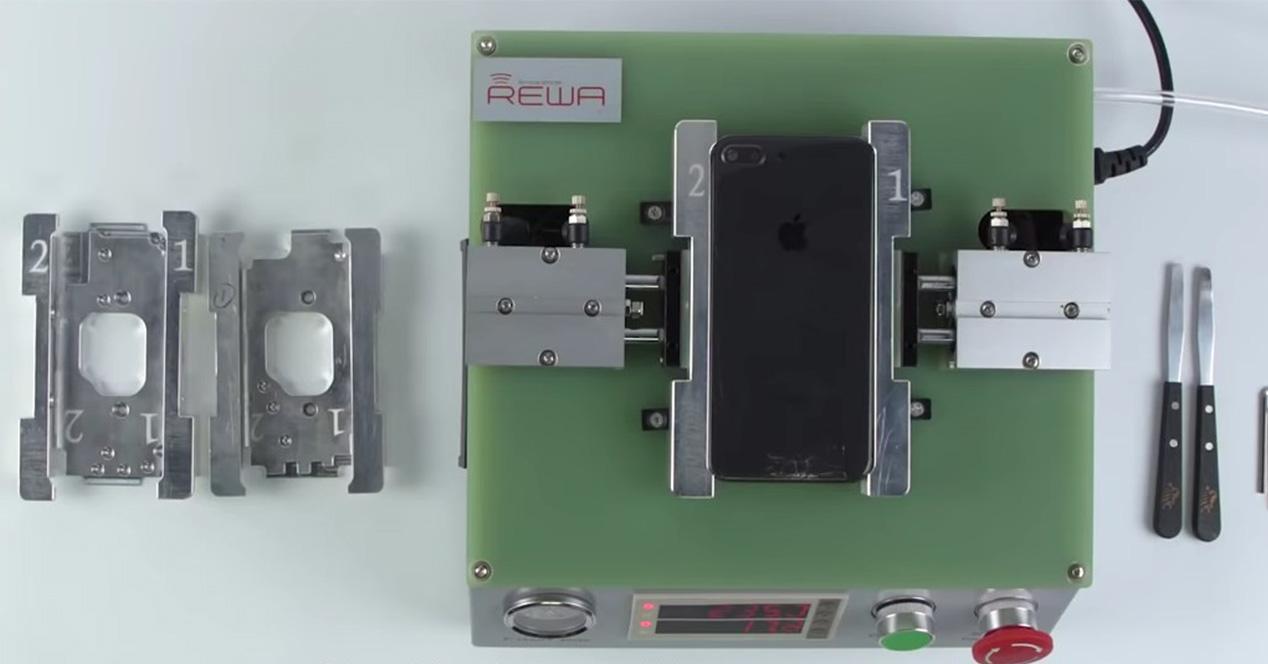 Imagen de la máquina que repara el cristal roto del iPhone 8